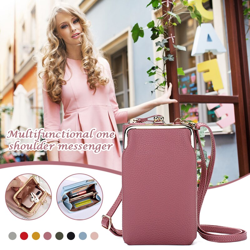 Women Phone Bag Solid Crossbody Bag PU Leather Purse with Detachable Strap Shoulder Luggage Bags Tra