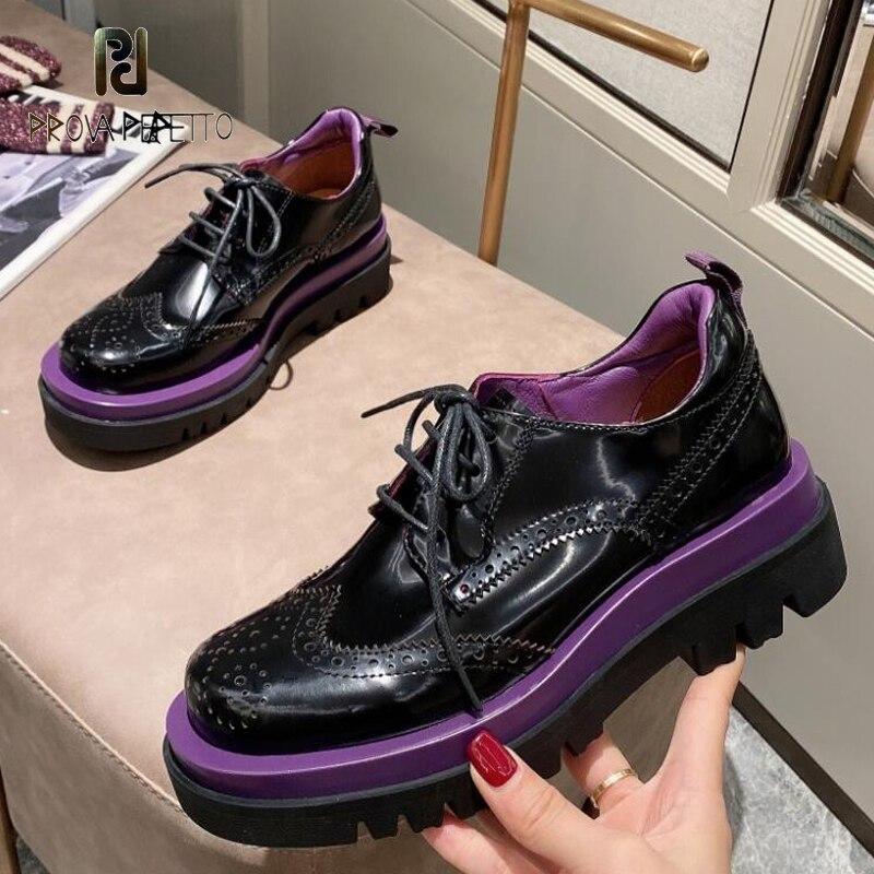 Zapatos de cuero Oxford para Mujer, zapatillas femeninas de suela gruesa con...