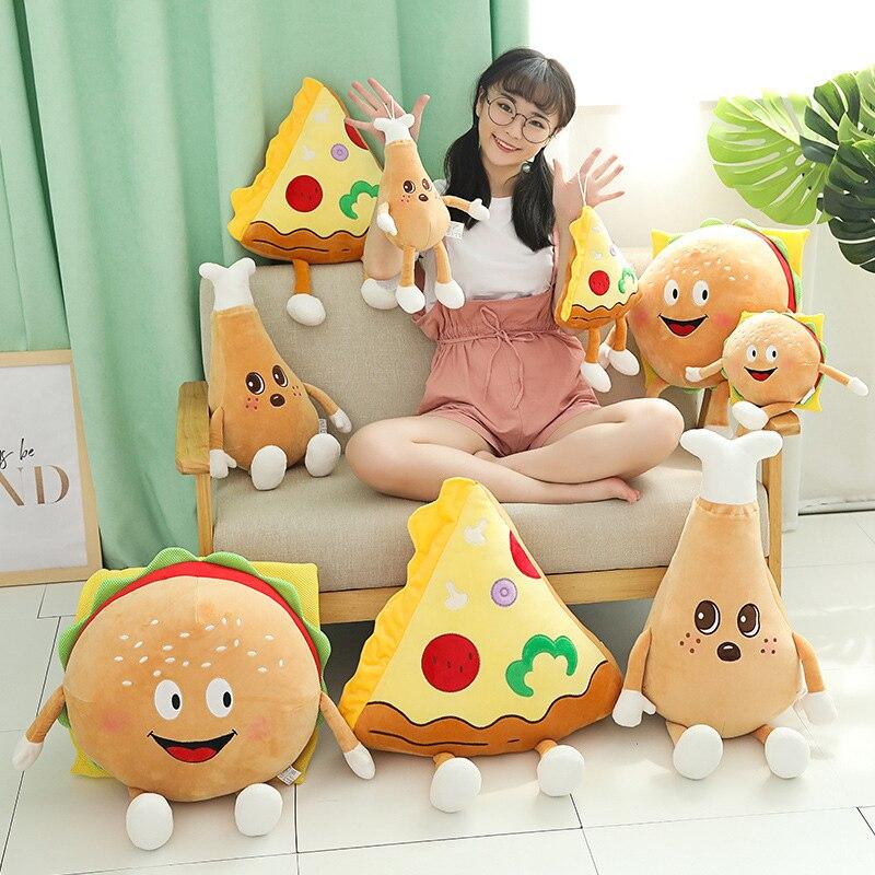 Schönen Niedlichen Cartoon Plüsch Hamburger Französisch Frites Huhn Bein Spielzeug Gefüllte Lebensmittel Popcorn Pizza Kissen Kissen Kinder Spielzeug Geburtstag Geschenk