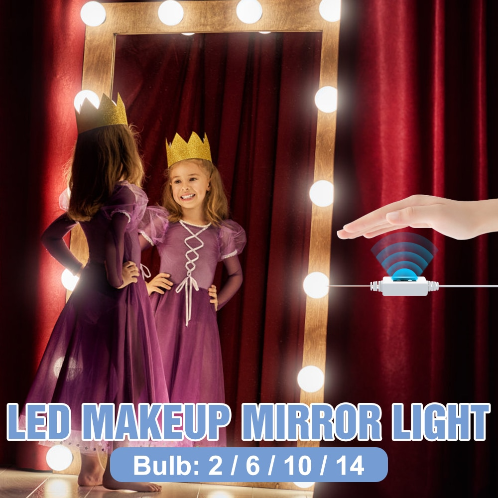 Hand Sweep LED Mirror Light Makeup Lamp USB LED Vanity Light Stepless Dimmable Wall Lamp Hollywood LED Dressing Table Lighting