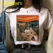 Chat T-shirt femmes été drôle Kawaii vêtements esthétique T-shirt Ulzzang décontracté Vintage dessin animé Harajuku femme T-shirt gothique