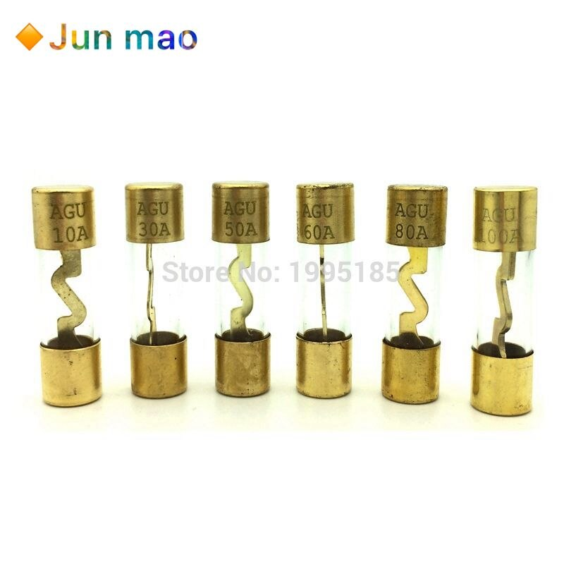 5Pcs 10*38MM Banhado A Ouro de Vidro Pacote de Amplificador Amplificador De Áudio Do Carro Fusível AGU Fusíveis 10A 15A 20A 25A 30A 40A 50A 60A 70A 80A 100A Fusível Carro