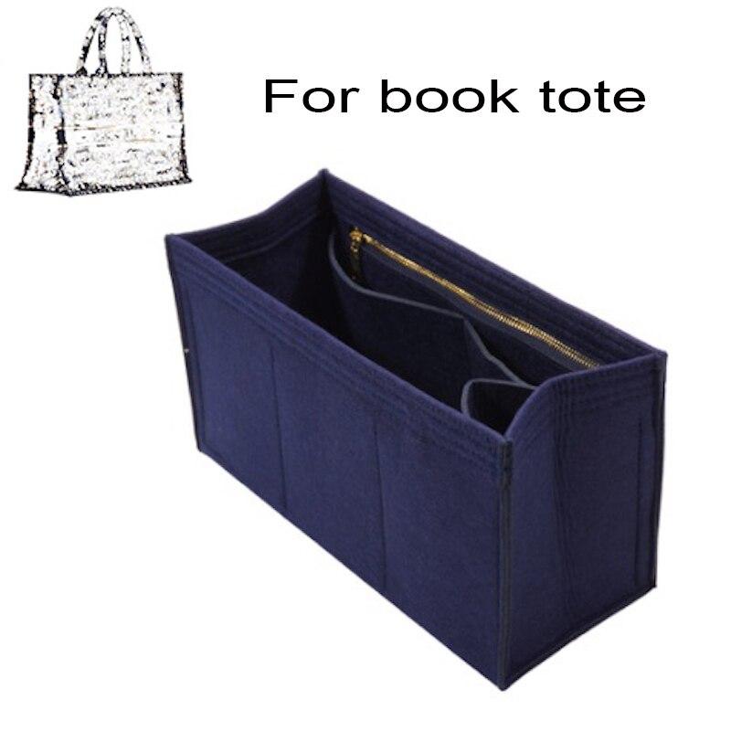 For BOOK TOTE Insert Bag Organizer Makeup Handbag Organizer Travel Inner Purse Bag shaper-Premium Fe
