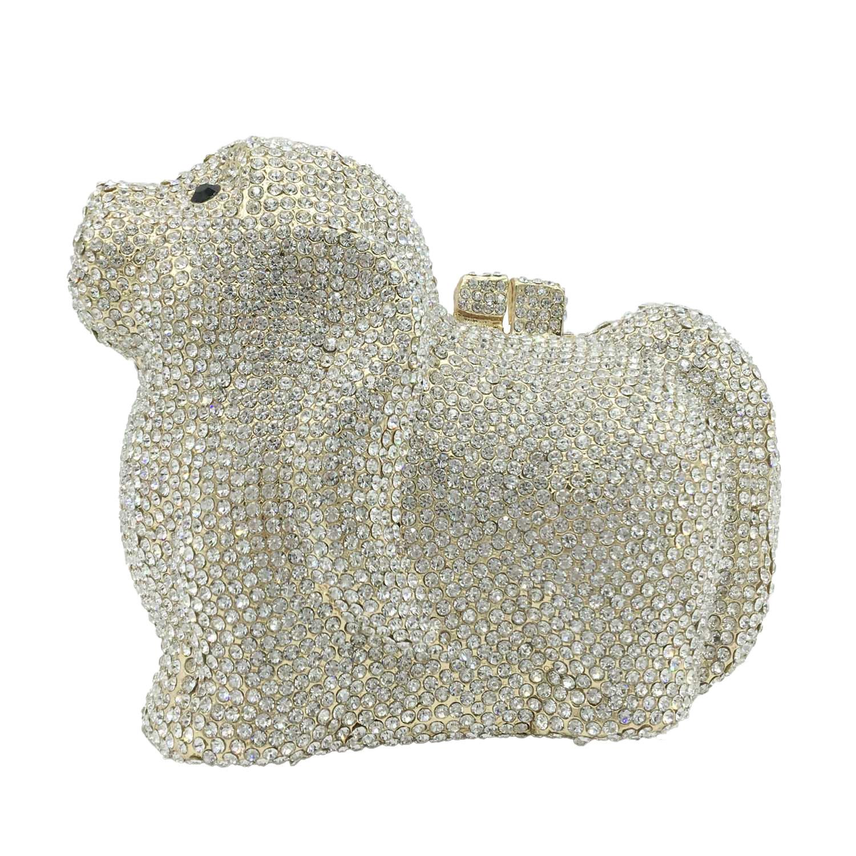 Boutique De FGG-حقيبة يد نسائية من حجر الراين ، حقيبة سهرة كريستالية ، مناسبة للجرو ، العشاء ، الزفاف
