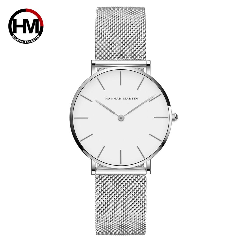 Top Brand Luxury HM Stainless Steel Mesh Wristwatch Japan Quartz Movement Sk Rose Gold Designer Elegant Style Watch For Women enlarge