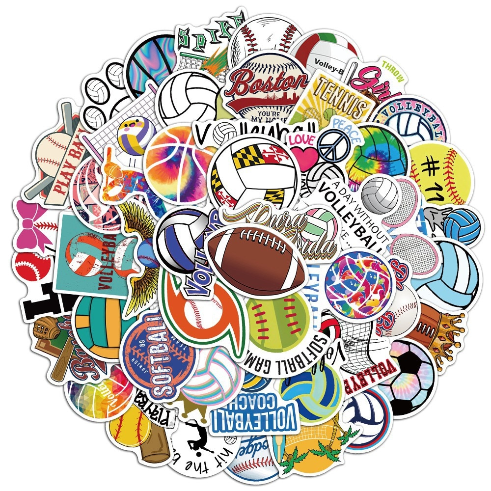 50 шт. стикер граффити для спорта, регби, волейбол, мягкий мяч, наклейка для футбола, водостойкая наклейка