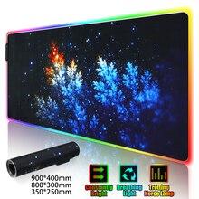 Gaming Maus Pad LED RGB Große Gamer Mauspad USB LED Beleuchtung Backlit Regenbogen Computer Matte Gummi Tastatur Schreibtisch Pad