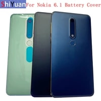 original back battery cover rear door panel housing with fingerprint for nokia 6 1 battery cover with camera lens part