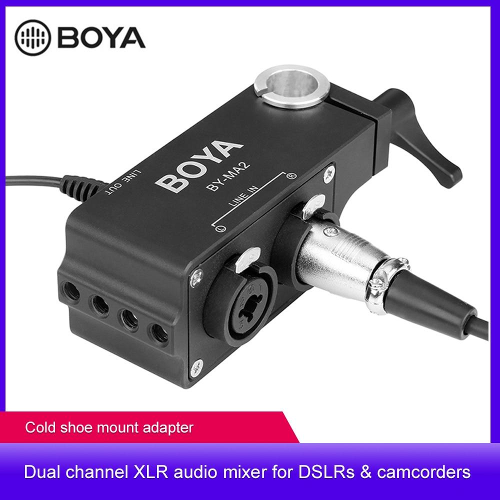 بويا BY-MA2 ثنائي قناة سجل الصوت خلاط XLR جاك 6.5 مللي متر إلى 3.5 مللي متر ميكروفون لاسلكي نظام لكانون نيكون سوني DSLR كاميرا