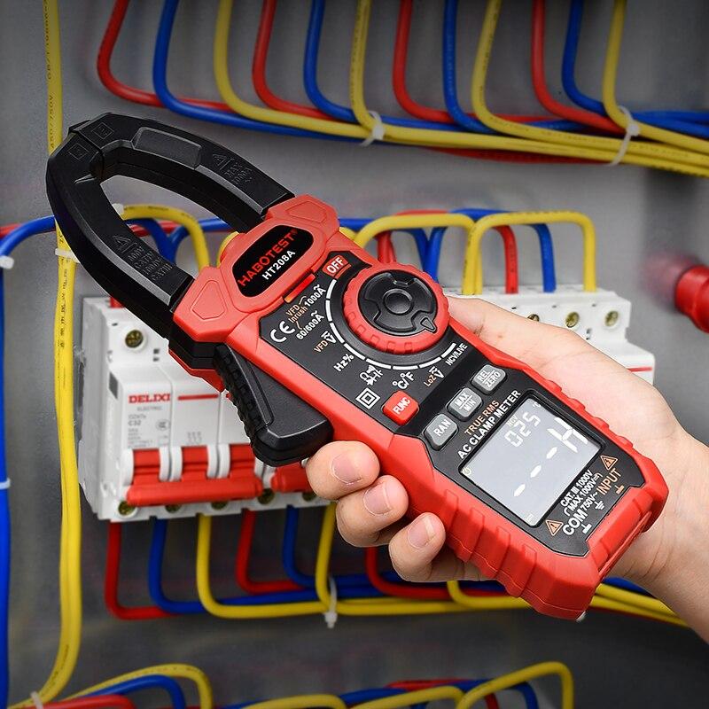 Habotester-مقياس التيار الكهربائي ، 1000 فولت ، 1000A ، VFD ، NCV ، اختبار الجهد ، سلسلة HT208