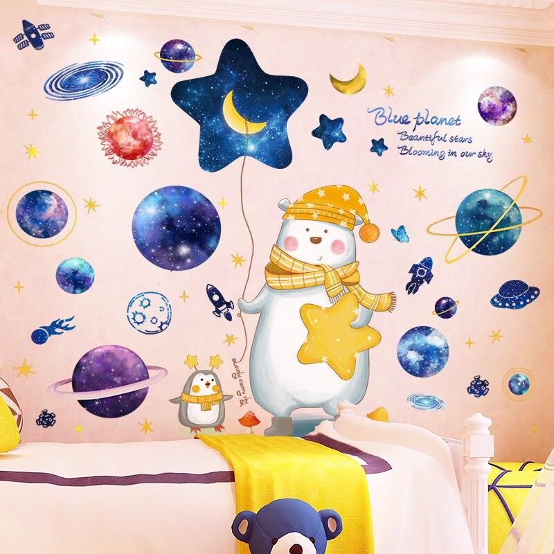 [Shijuekongjian] Cartoon niedźwiedź zwierzęta naklejki ścienne DIY planety kosmosu dla dzieci pokój dziecko sypialnia przedszkole dekoracja domu