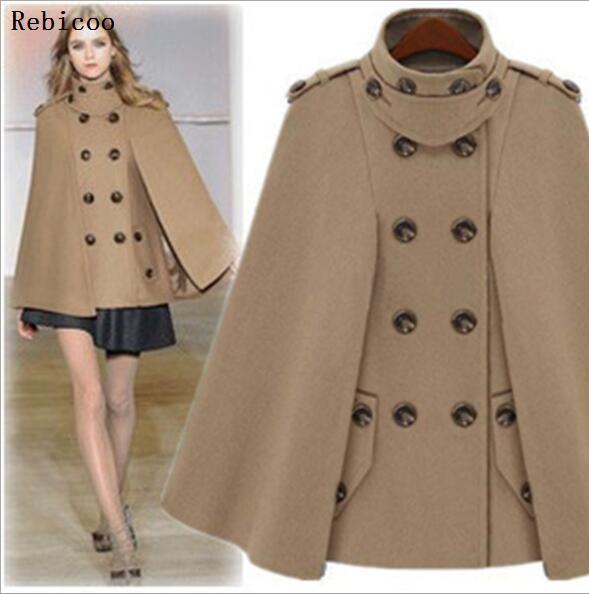 Autumn Winter Fashion Women Wool Cape Coat Fur Collar Woolen Blend Coats Female Hooded Cashmere Poncho Overcoat