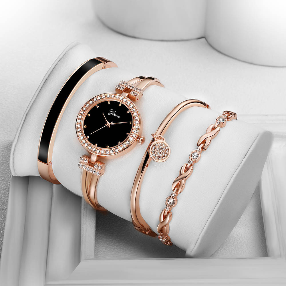 Four-Pieces Fashion Women Quartz Watch Bling Bling Famous Brand Watch for Women Quality Gold Luxury Brand Female Watch Present enlarge