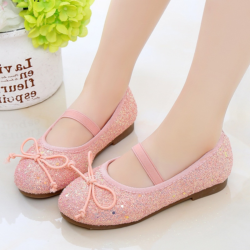 2021Spring New Kids Shoes Girls bow Sequin Princess Shoes Children soft-soled Single Shoes For Cocktail and Party Pink 3-12T