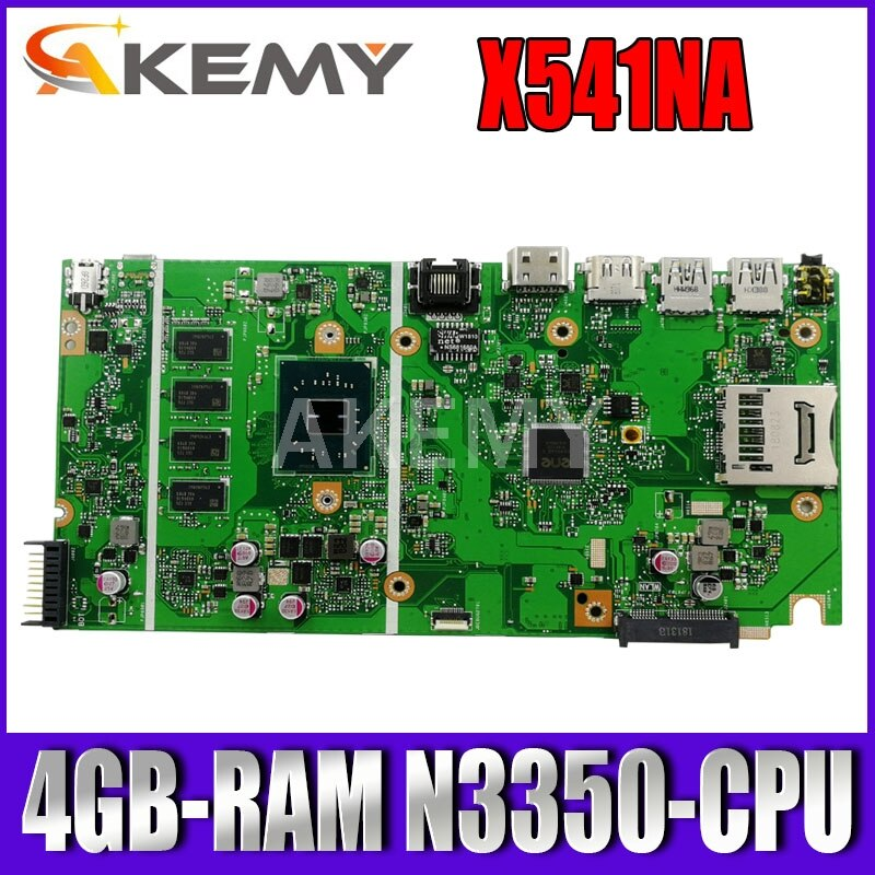 Akemy X541NA اللوحة الأم لأجهزة الكمبيوتر المحمول ASUS X541NA اللوحة الرئيسية الأصلية 4GB-RAM N3350/N4200/N3700-CPU