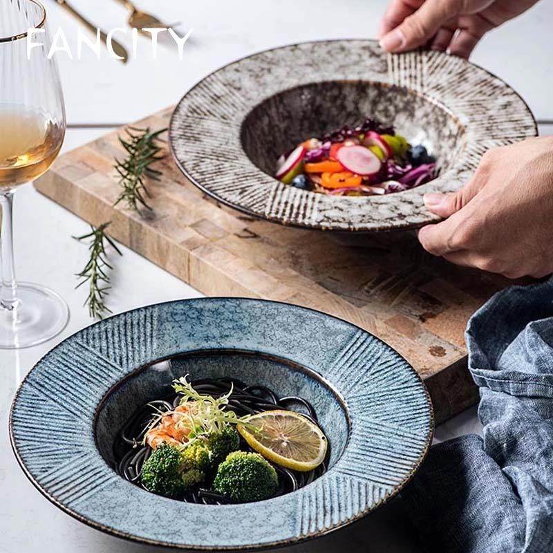FANCITY-طبق سيراميك على شكل قبعة من القش ، 25.5 سنتيمتر ، سخان دائري ، أطباق شوربة ، أطباق عشاء يابانية للفنادق ، أطباق عشاء ، معكرونة منزلية