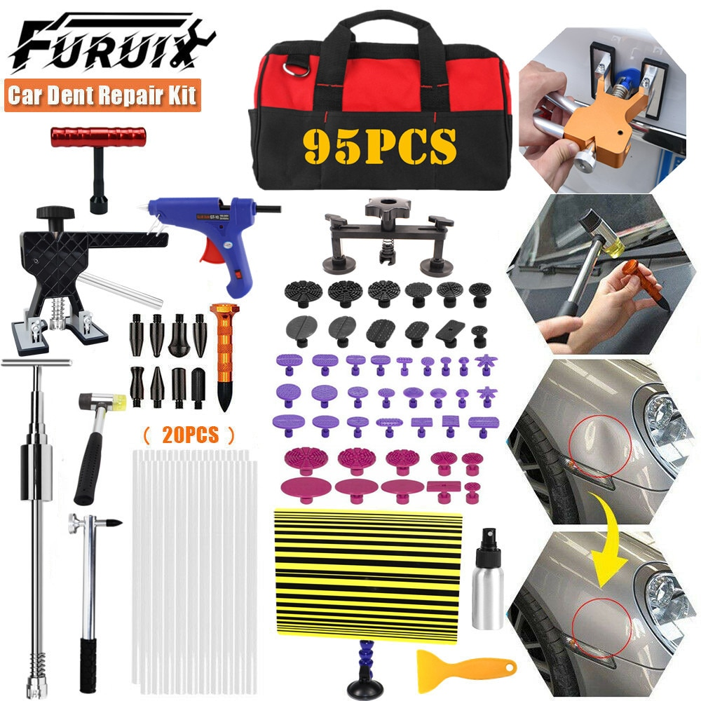 FURUIX 95xRepair Tools Car Paintless Dent Puller Lifter Removal Kit Glue Gun Slide Hammer for hail damage