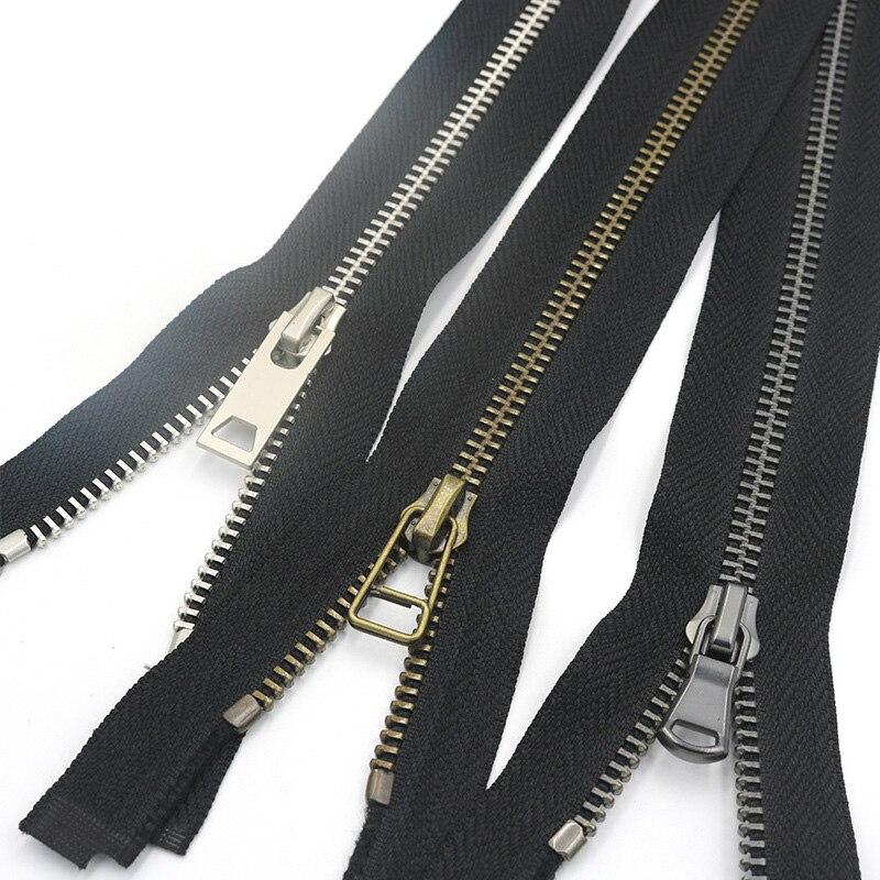 2Pcs 50/60/70/80cm 5# Metal Zippers Slider Open End Long Zip DIY Craft Down Jacket Coat Clothing Sui