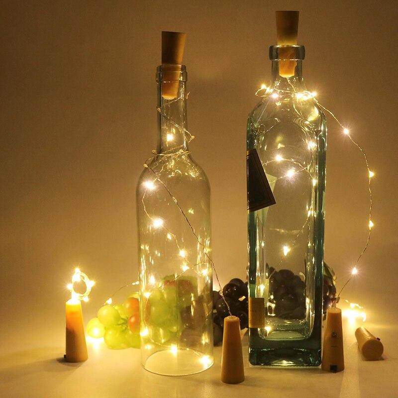 10-30 LEDs corcho LED Cadena de alambre de cobre Cadena de botellas de vino luces de vacaciones al aire libre luces para la decoración de la boda de la fiesta de navidad