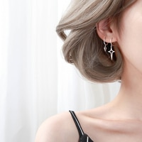 Hoop Earrings Women\'s Sterling Silver Earrings 2021 New Trendy Personalized Earrings Korean Graceful Online Influencer Ear Clip