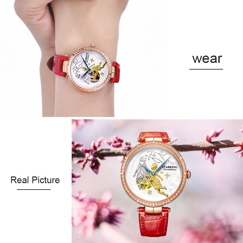 STARKING Women's Watch Brand Luxury Leather Gemini Constellation Ladies crown Watch Fashion Casual Simple Wristwatch Clock Women enlarge