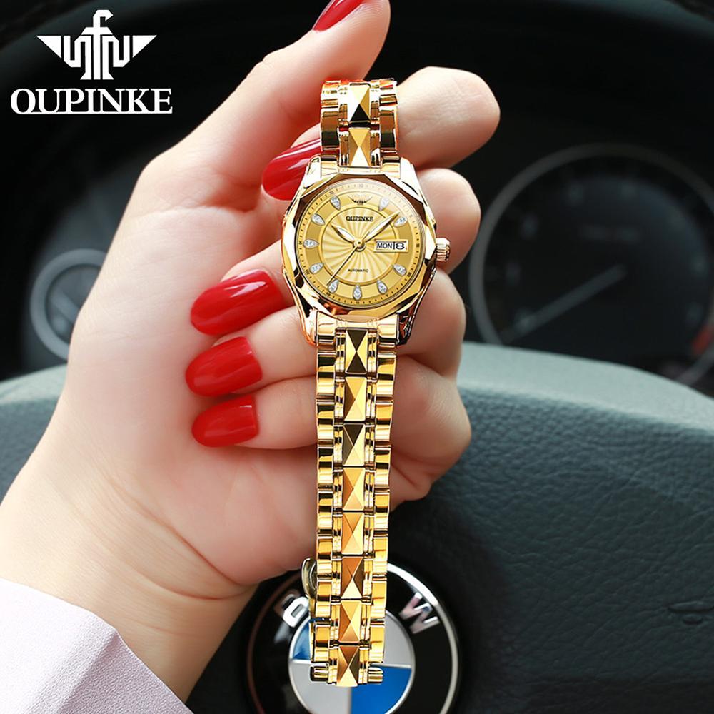 OUPINKE Top Luxury Women Wristwatch Automatic Mechanical Waterproof Watches Sapphire Mirror Tungsten Steel Watchstrap Lady Watch enlarge