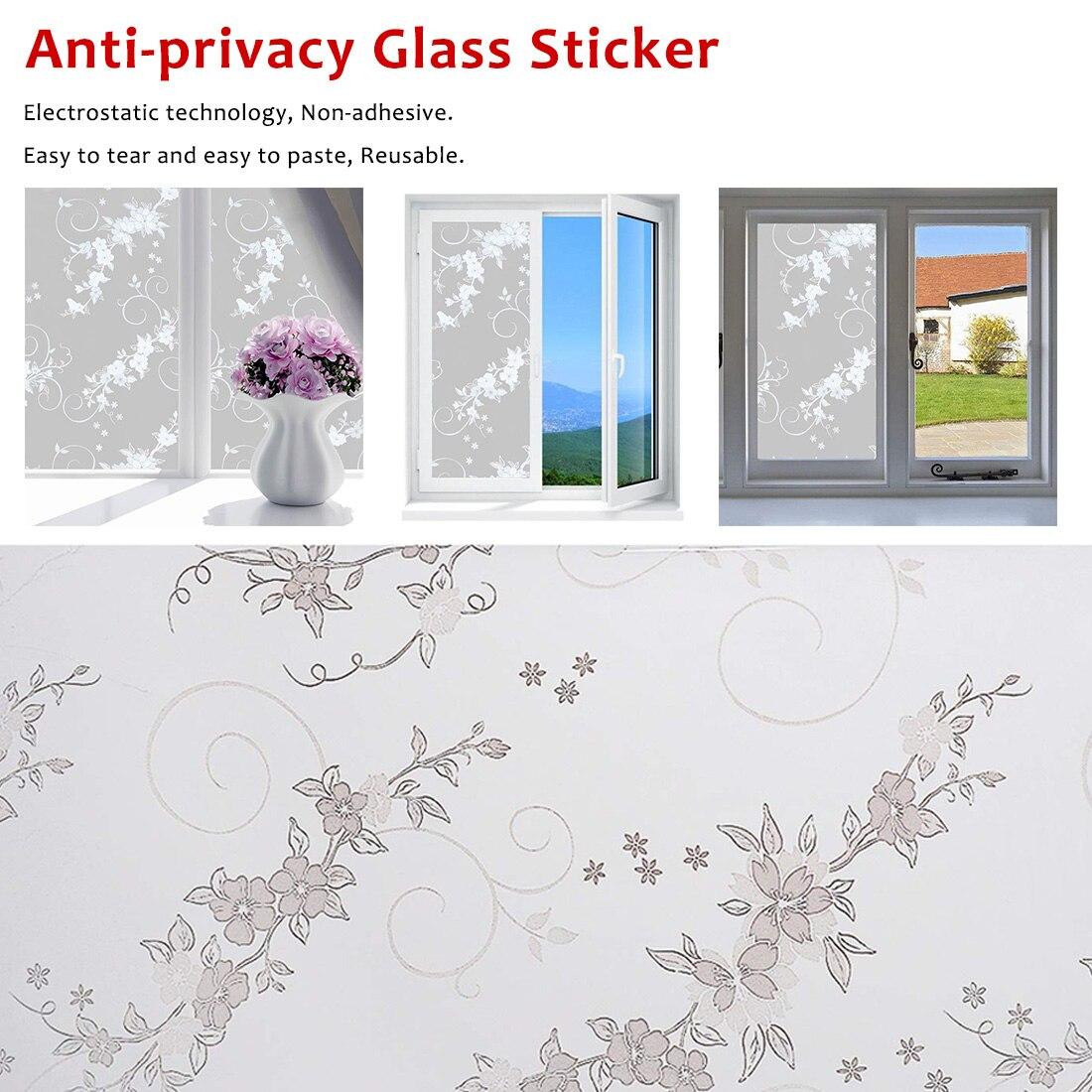 Autocollant en verre fleur givrée couverture   Autocollant en verre Anti-intimité 60x200 CM Film pour fenêtre, couverture de salle de bain discrète
