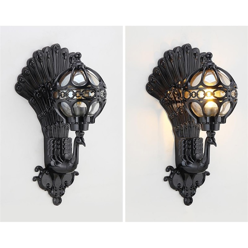 DLMH Outdoor Wall Sconces Lamp Classical LED Peacock Light Waterproof Home Decorative For Porch enlarge