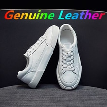 Genuine Leather Women's White Casual Woman Vulcanize Shoes Sneakers Designer Sport Walking Running S