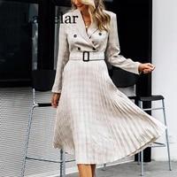 elegant 2019 autumn winter ladies blazer dress button belt long sleeve dress female plaid dresses women sexy vestidos