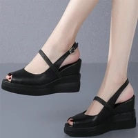 casual shoes women back strap genuine leather wedges high heel gladiator sandals female summer open toe platform pumps shoes