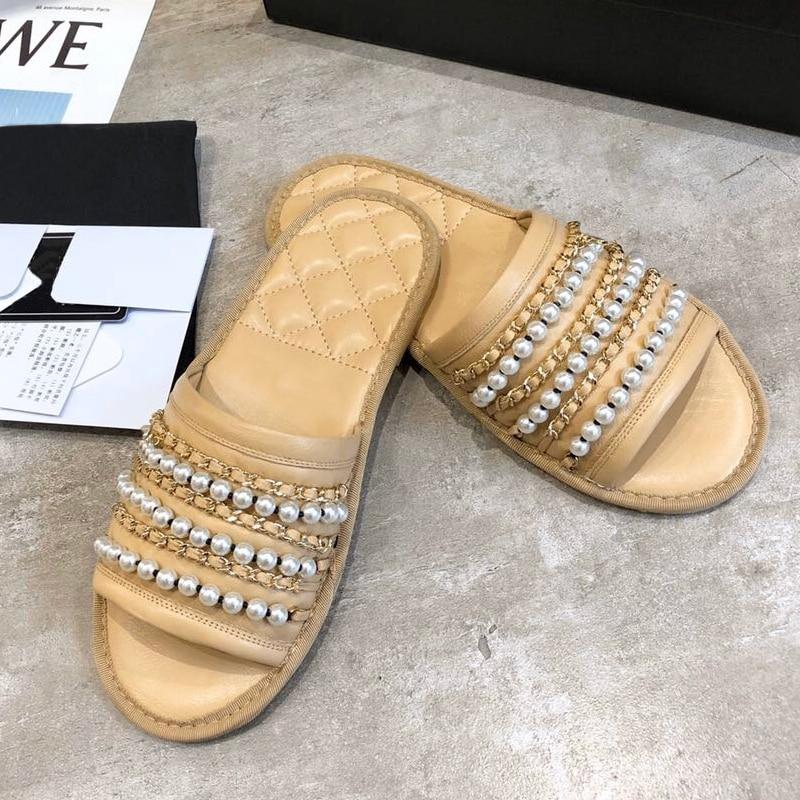 Brand Platform Shoes Mules Slippers Women Pearl Designer Slides Summer Party Shoes Ladies Flip Flops