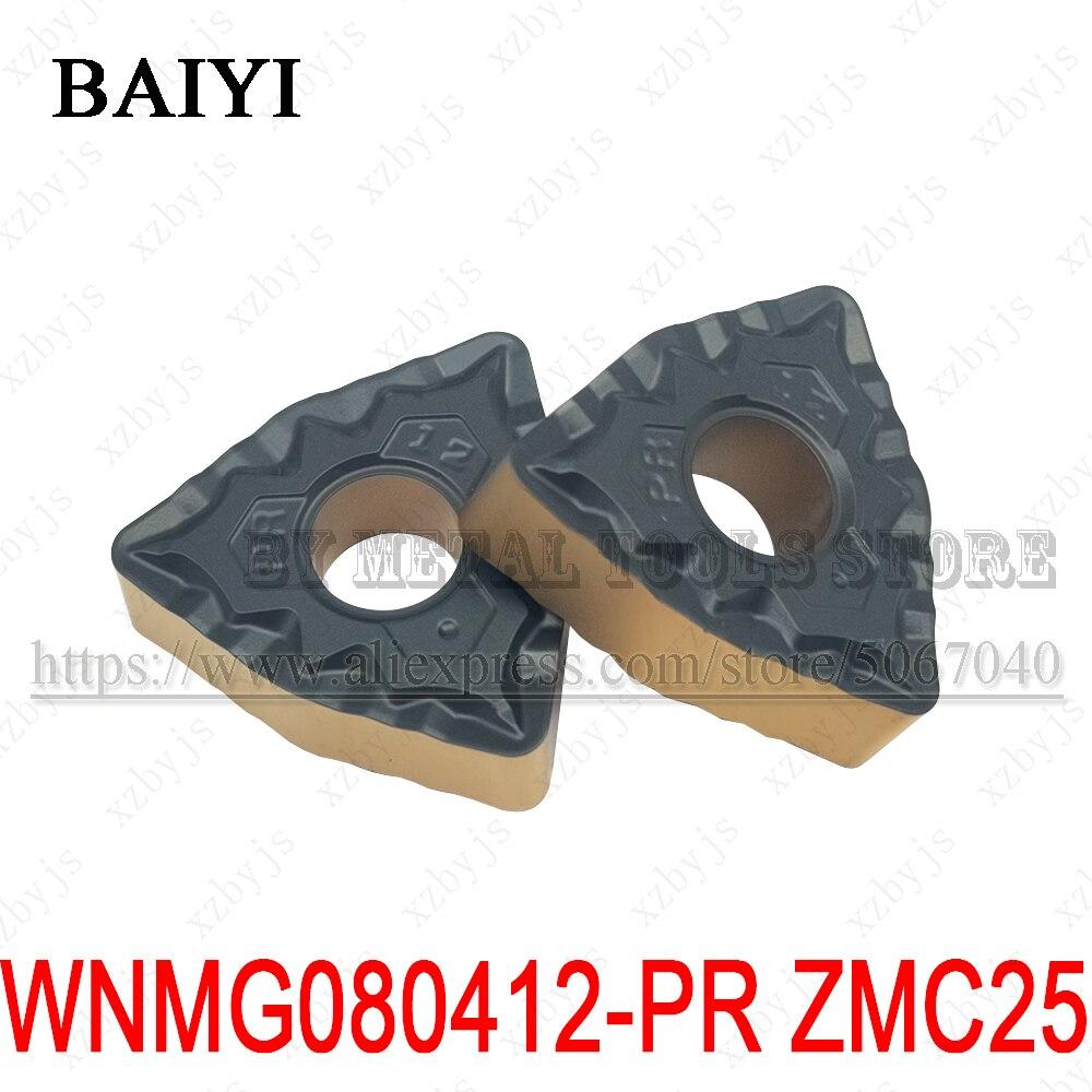 10 قطعة WNMG080412-PR ZMC25 WNMG080412 PR كربيد عالية الجودة الخارجية تحول أدوات CNC مخرطة القاطع WNMG 080412 شفرة