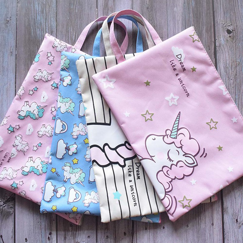 Cute Cartoon Unicorn Colorful File Bag A4 Document Bag File Folder Stationery Filing Product School Office Supply 3pcs lot school stationery a4 folder cute fashion for student clip file 3 color information booklet school office stationery