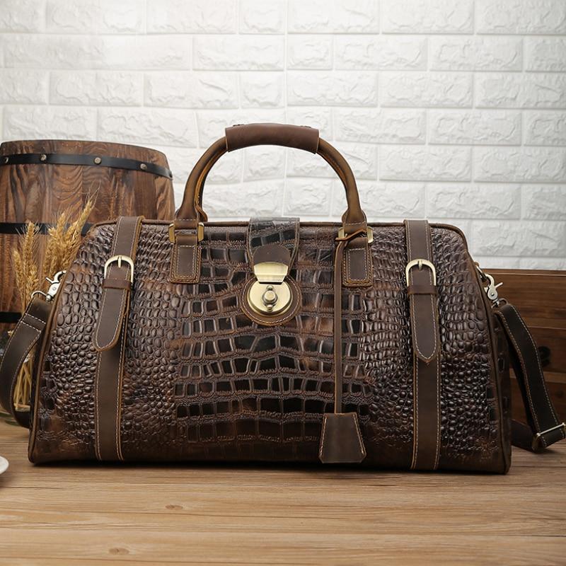 Мужская Дорожная сумка Luufan из натуральной кожи, винтажный вместительный спортивный мешок с крокодиловой кожи, ручная сумка для ночевки под ...