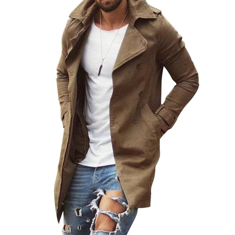 رجل خندق معطف سترة حجم كبير 4XL أبلى معطف طويل غير رسمي جاكيتات للرجال ملابس 2020 ربيع الخريف موضة الرجال
