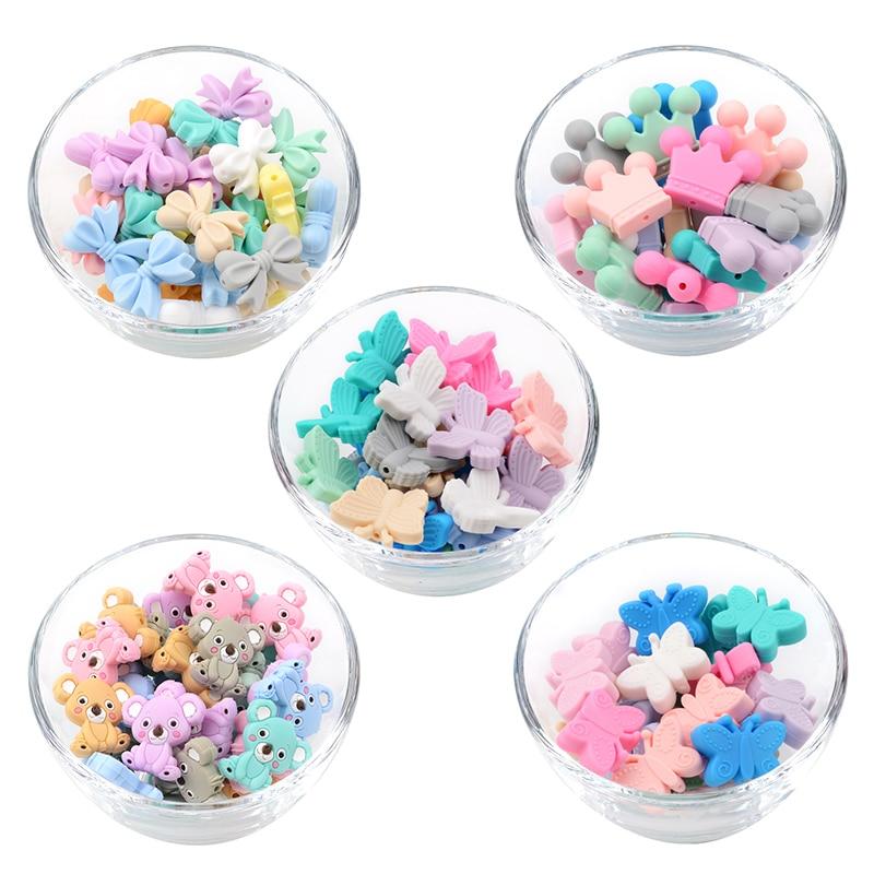 5PCS Mini silicona cuentas Mouse forma de joyería de la dentición BPA libre chupete Cadena de chupete mordedor bebé de silicona de grado de alimentos
