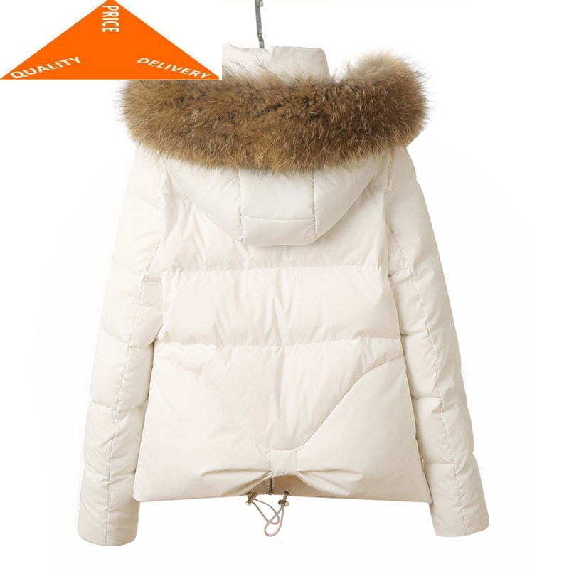 Chaqueta de plumón de pato de piel de mapache Natural de alta calidad 2020, Abrigos cortos de invierno para Mujer, Abrigos de talla grande 2XL, Abrigos de Mujer, prendas de vestir LX9279
