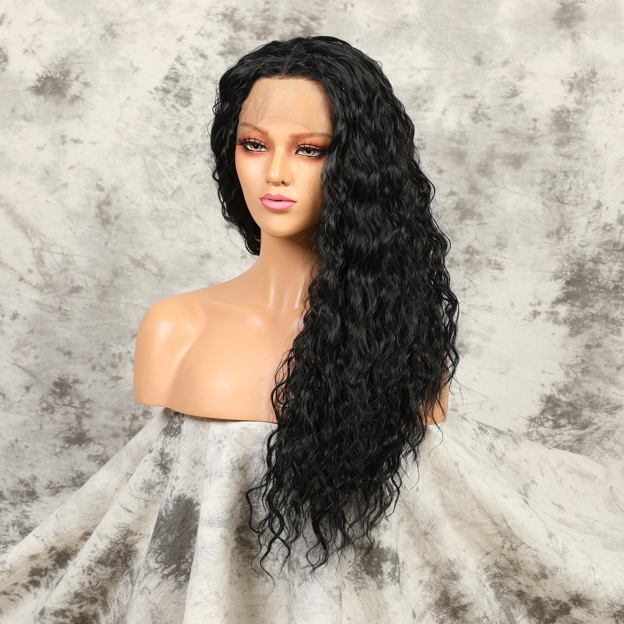 180% الكثافة 26 بوصة طويل غريب مجعد بيروكات صناعية الدانتيل الأسود الطبيعي شعر مستعار أمامي للنساء Babyhair preplucted تأثيري اليومي