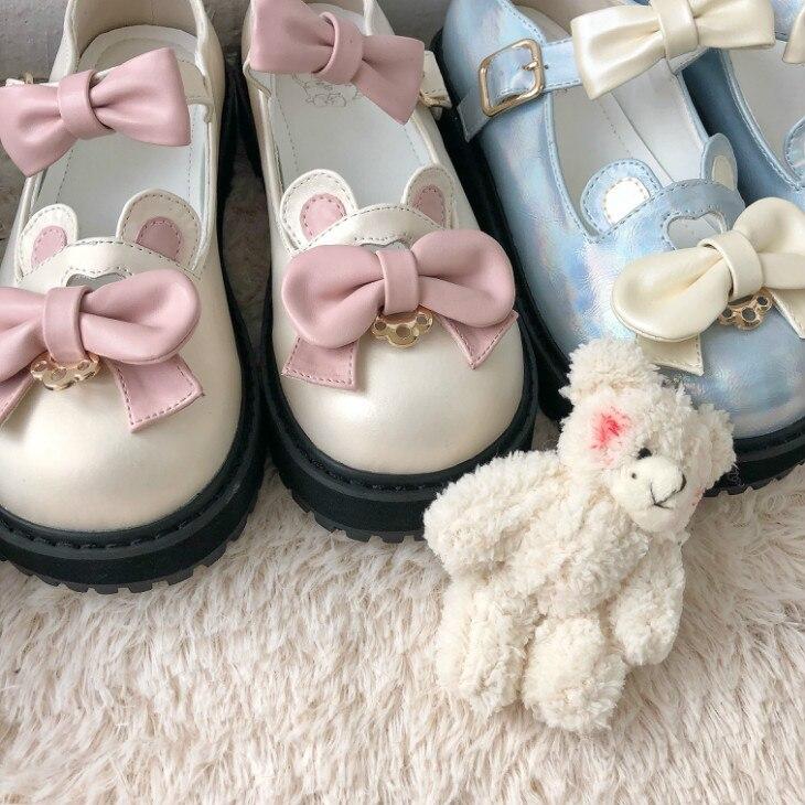 Honey Bear Japanese Lolita Kawaii Big Bow Shoes Students Young Girl Anime Cosplay Retro Round Head Tea Party Platform shoes