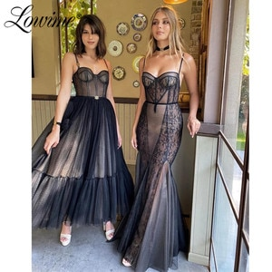 Lowime Black Evening Dresses A Line Prom Dresses 2021 Graguation Party Dress Custom Robes Special Occasion Gowns Plus Size Dress
