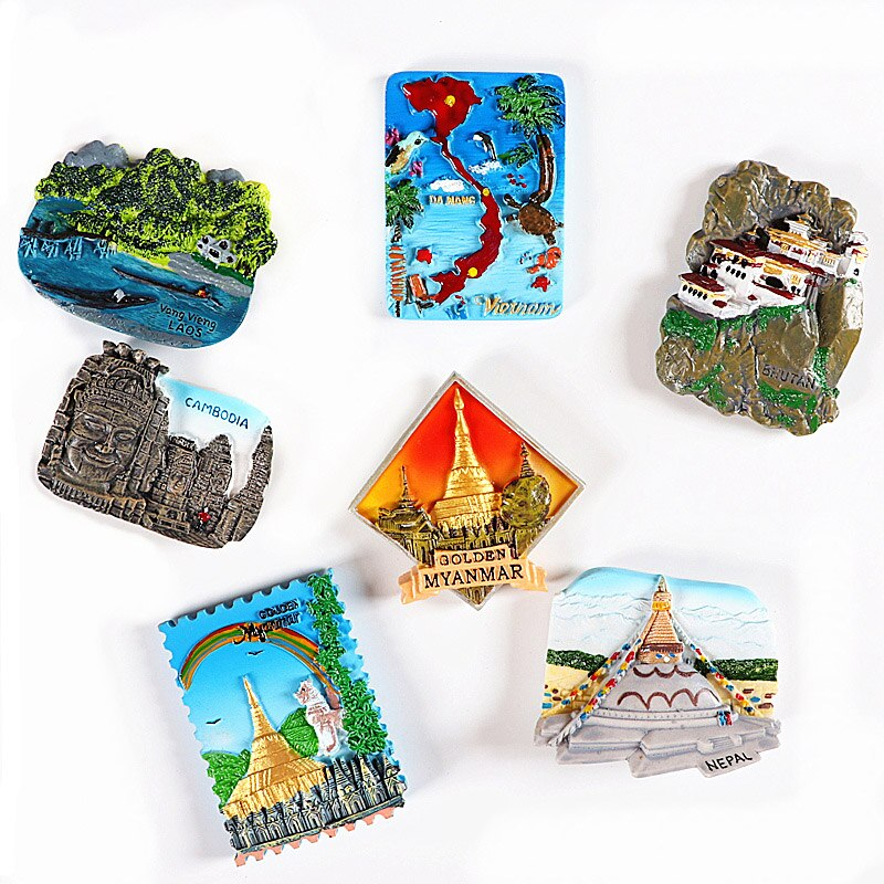 Recuerdo turístico nevera refrigerador magnético imán de pegar Bután Vietnam Birmania Nepal Cambodia colección 3d souvenirs regalo