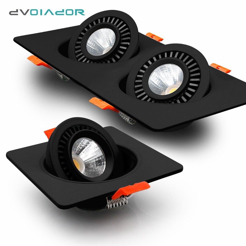 Luces Led empotradas regulables de color negro, foco Led de una cabeza/doble, rotación de 360 grados, lámpara de techo para dormitorio