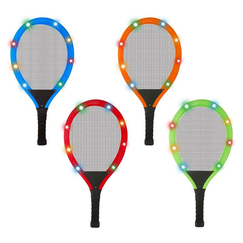 ¡Oferta! Raqueta de bádminton brillante con luz LED para niños, raqueta de tenis educativa para exteriores, juego de pelota