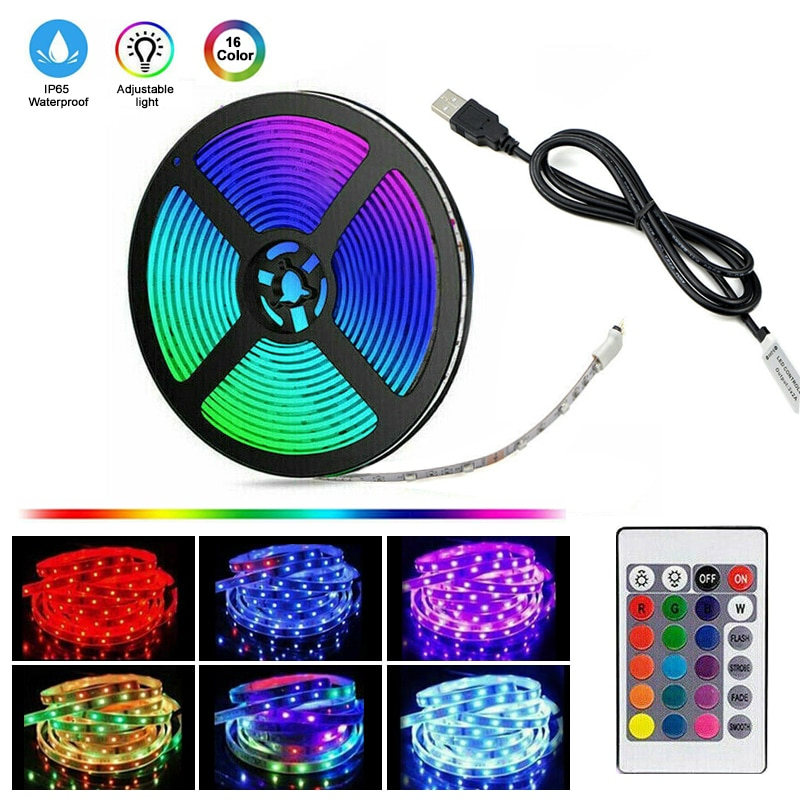 1M-5M LED Strip Lights 5050 RGB Colour USB Rechargeable TV Backlight Flexible Ribbon Fita Led Tape Diode+24 Keys Remote