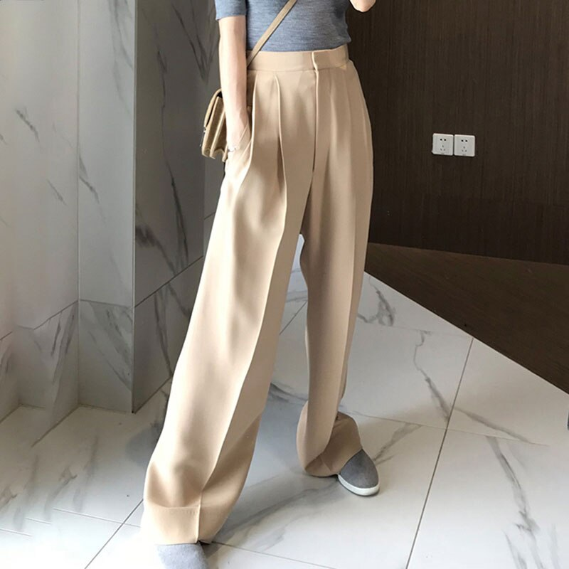 Trouser For Women High Waist Causal Loose Wide Leg Pants Female 2020 Autumn Korean Fashion Elegant Tide