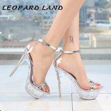 Léopard terre Sexy cristal Transparent Super à talons hauts plate-forme imperméable Catwalk discothèque sandales à talons hauts femmes WZ-14-70