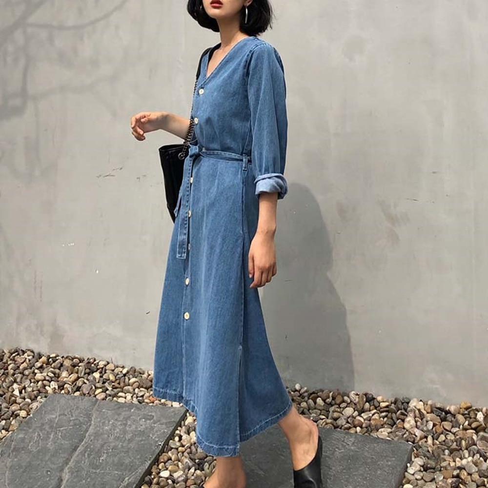 Casual Women Denim Blue Dresses Belt Button Split Vogue Korean Female Summer Fashion Janpanes Robe L
