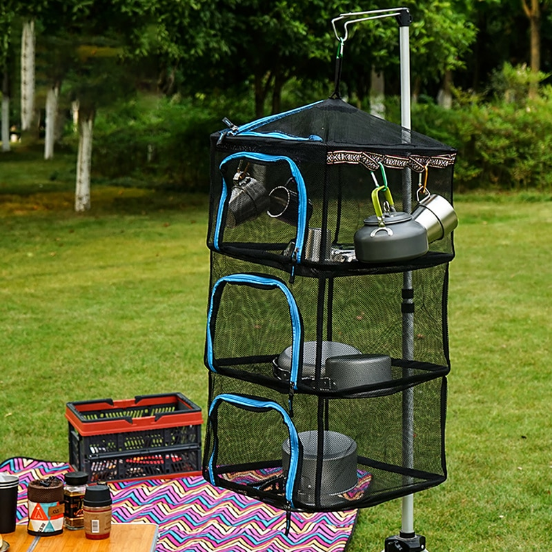 Outdoor Camping 4 Schicht Trocknen Rack Netto Faltbare Mesh Hängen Hause Garten Gemüse Fisch Trockner Mit Zipper