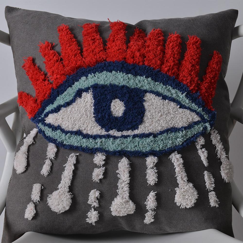 Boho fronha de algodão fronha cama decorativa para casa 45*45cm boho travesseiro artesanal nordic tufting para trás do corpo travesseiros
